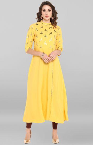 Janasya | Yellow Printed Polyester Crepe Anarkali