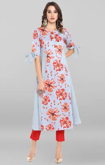 Janasya | Grey Floral Polyester Crepe Anarkali