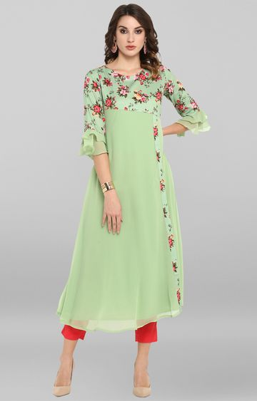 Janasya | Light Green Printed Kurta