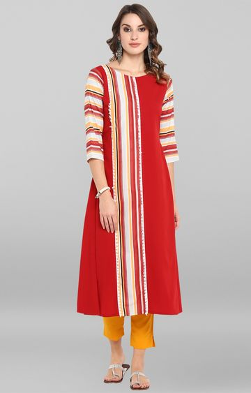 Janasya | Red Striped Kurta