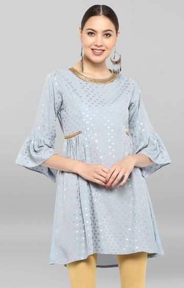 Janasya | Grey Printed Regular Kurti