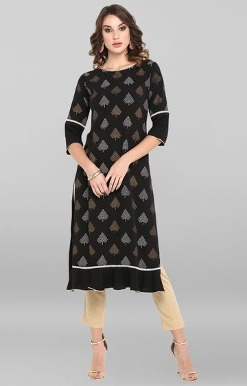 Janasya | Black Printed Polyester Crepe Kurta