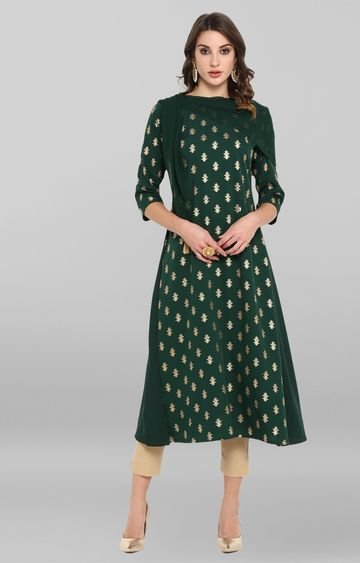 Janasya | Dark Green Printed Kurta