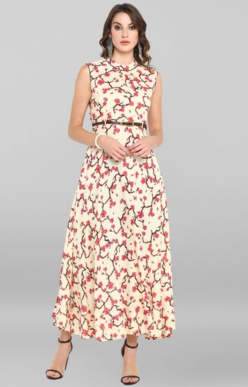 Janasya | Cream Floral Maxi Dress