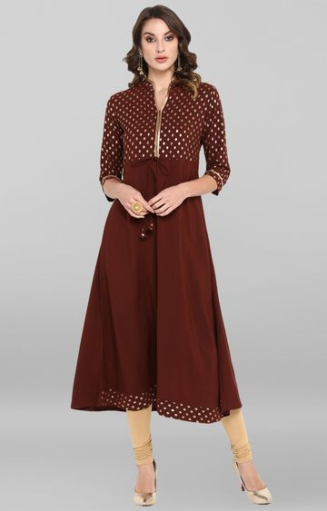 Janasya | Brown Printed Anarkali