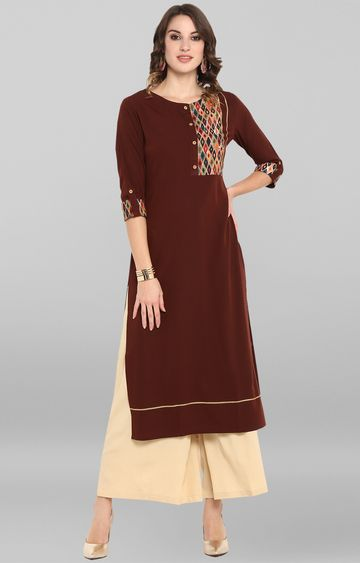 Janasya | Brown Printed Kurta