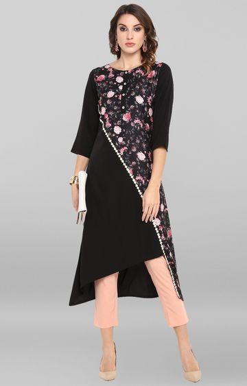 Janasya | Black Floral Asymmetric Kurta