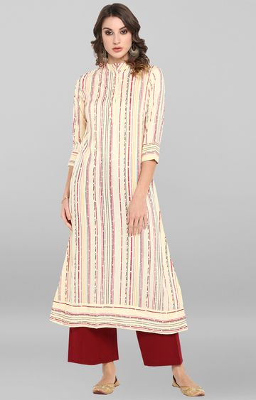 Janasya | Cream Striped Kurta