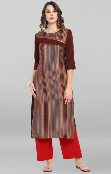 Janasya | Brown Striped Kurta