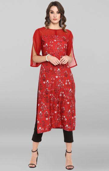 Janasya | Red Floral Kurta