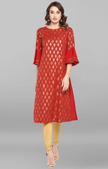 Janasya | Red Printed Kurta