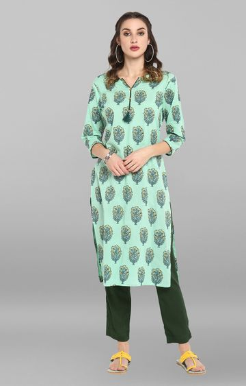 Janasya | Sea Green Floral Kurta