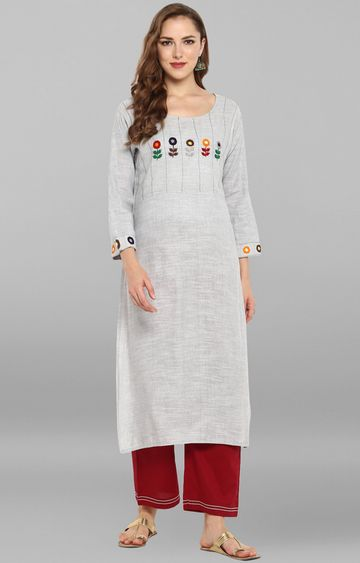 Janasya | Grey Melange Pants and Kurta