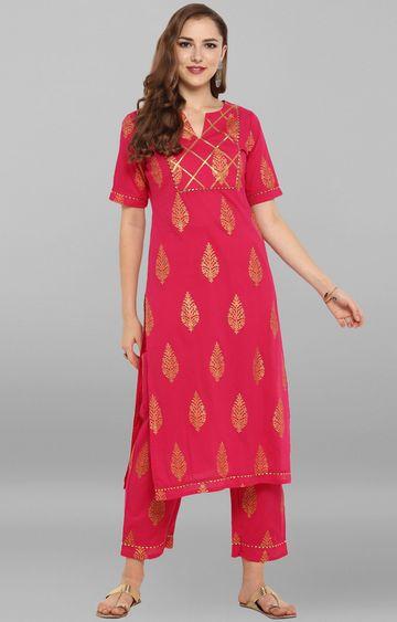 Janasya | Pink Printed Pants and Kurta
