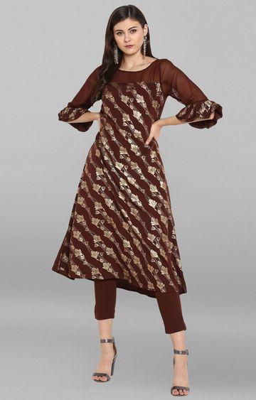 Janasya | Brown Printed Kurta and Pants Set