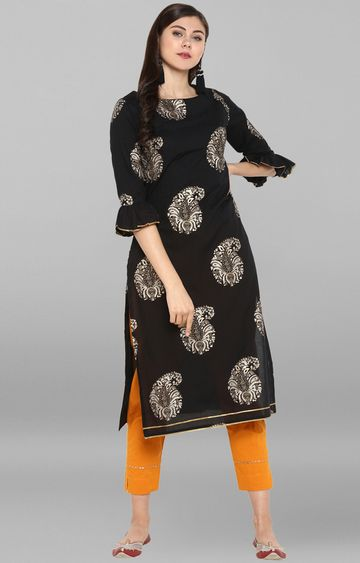 Janasya | Black Printed Kurta and Pants Set