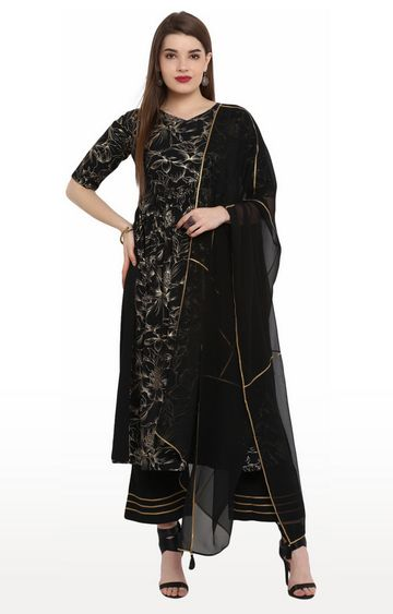 Janasya | Black Printed Suit Set