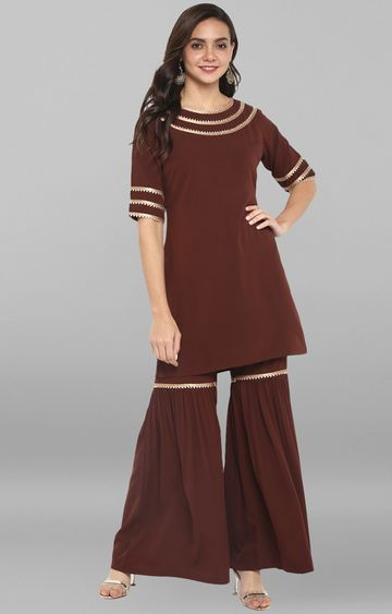 Janasya | Brown Embroidered Palazzo and Kurta