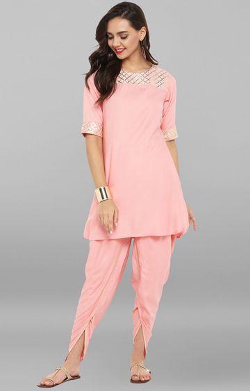 Janasya | Pink Rayon Short Kurti With Dhoti