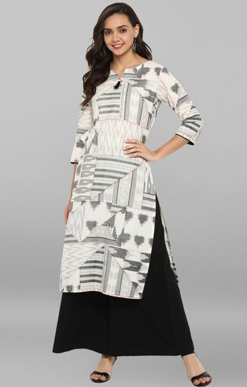 Janasya | Off White Printed Palazzo and Kurta