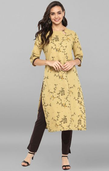 Janasya | Beige Printed Kurta with Pants