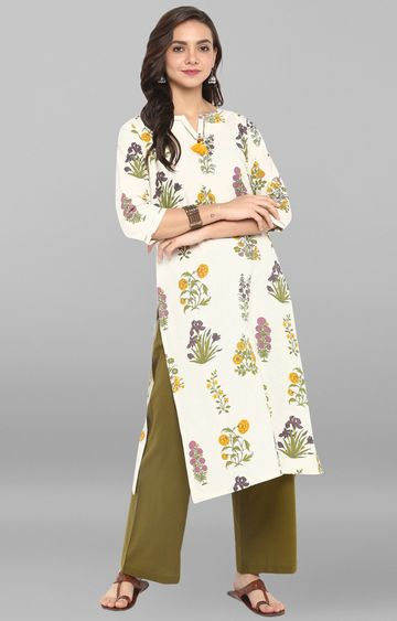Janasya | Cream Floral Pant and Kurta