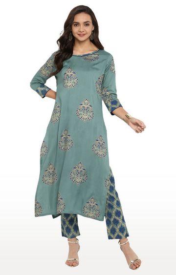 Janasya | Green Printed Churidar Kurta and Pant