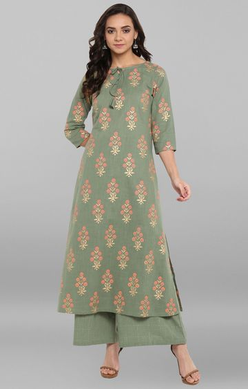 Janasya | Olive Green Printed Palazzo and Kurta