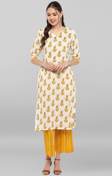 Janasya | White and Yellow Printed Kurta and Pants