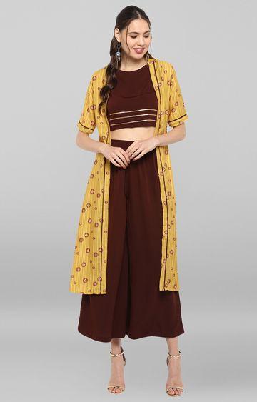 Janasya | Yellow Printed Top with Palazzo and Jacket