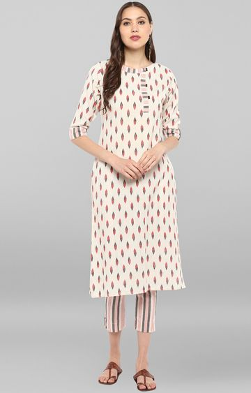 Janasya | Off White Printed Kurta and Pants