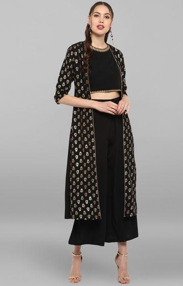 Janasya | Black Printed Palazzo and Kurta with Jacket