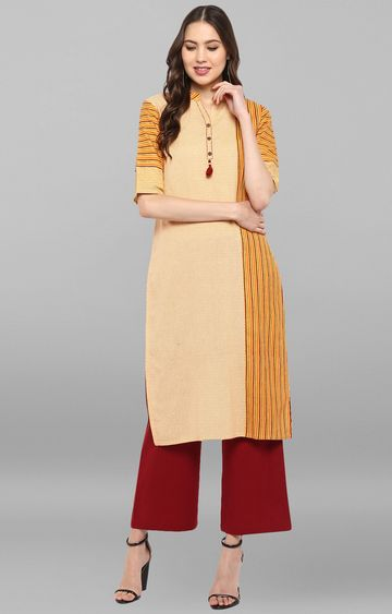 Janasya | Yellow Striped Palazzo and Kurta