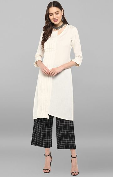Janasya | Off White Solid Palazzo and Kurta