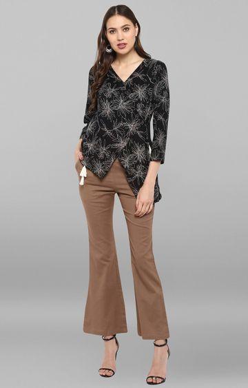 Janasya | Black Printed Top with Trouser