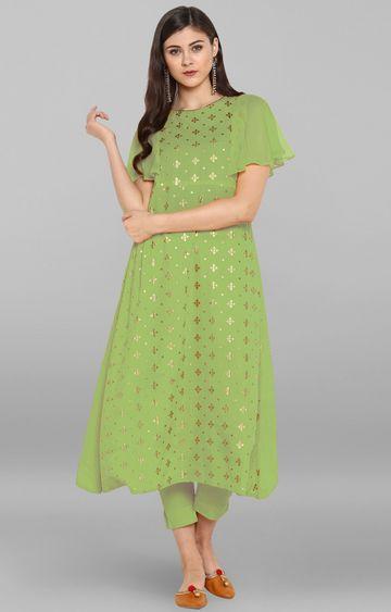 Janasya   Green Printed Pant and Kurta