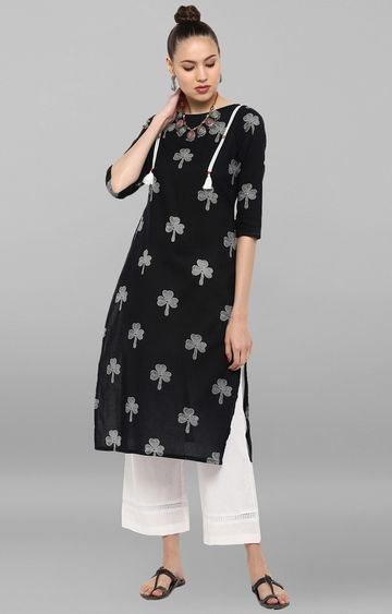 Janasya | Black Printed Palazzo and Kurta