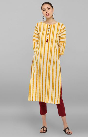 Janasya | Yellow Striped Kurta and Pants
