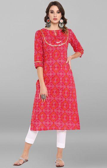 Janasya | Pink Printed Kurta and Pants