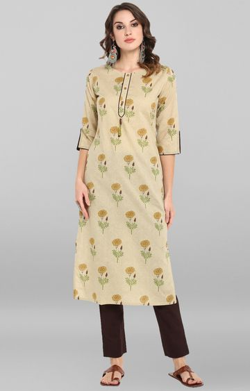 Janasya | Beige Printed Kurta and Pants