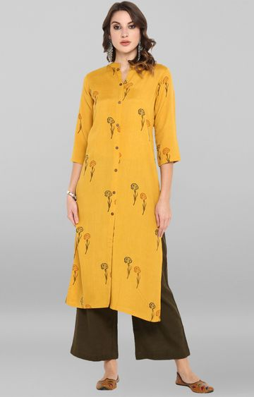 Janasya | Yellow Printed Palazzo and Kurta