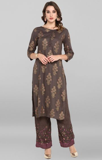 Janasya | Grey Printed Palazzo and Kurta