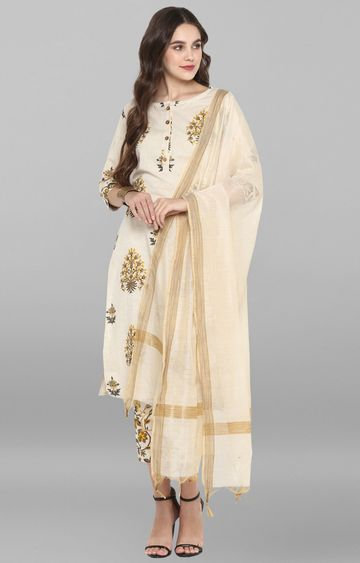 Janasya | Cream Printed Kurta and Pants