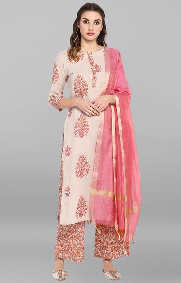 Janasya | Pink Printed Suit Set