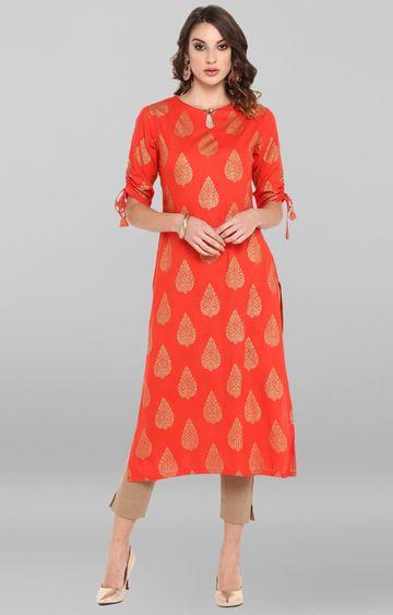 Janasya | Coral Red Printed Kurta and Pants