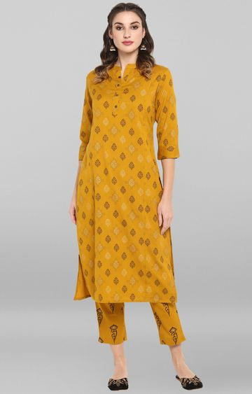 Janasya | Mustard Printed Kurta and Pants