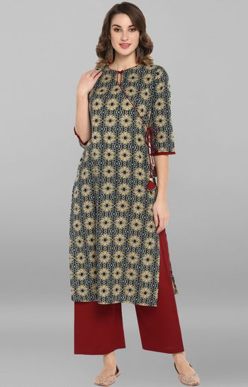 Janasya | Bottle Green and Beige Printed Palazzo and Kurta
