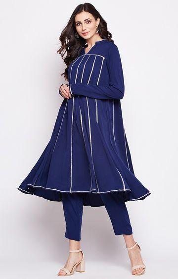 Fabnest | Navy Blue Striped Regular Kurta