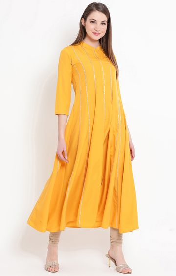 Fabnest | Yellow Solid Anarkali