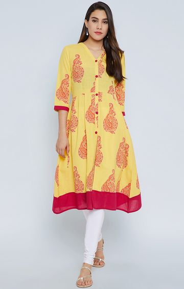 Fabnest | Yellow Printed Regular Kurta